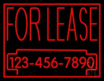For Lease With Phone Number LED Neon Sign