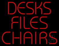 Desks Files Chairs LED Neon Sign