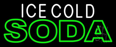 Ice Cold Double Stroke Soda LED Neon Sign