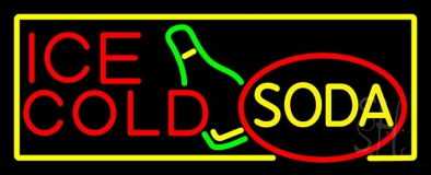 Ice Cold Soda With Bottle LED Neon Sign