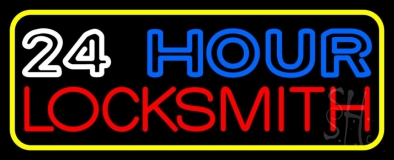 Double Stroke 24hr Locksmith 3 LED Neon Sign