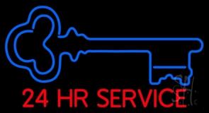 Key Logo 24hr Service LED Neon Sign
