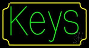 Green Keys Yellow Border LED Neon Sign