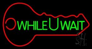 While You Wait Key Logo LED Neon Sign
