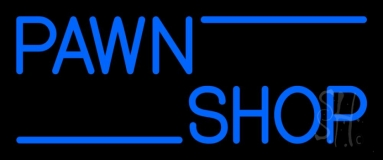 Blue Double Stroke Pawn Shop 1 LED Neon Sign