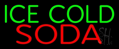 Ice Cold Soda 3 Neon Sign