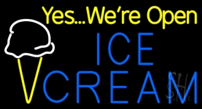 Yes We Are Open Ice Cream Cone LED Neon Sign