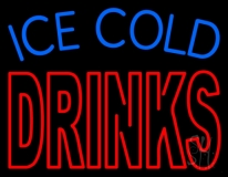 Double Stroke Ice Cold Drinks LED Neon Sign