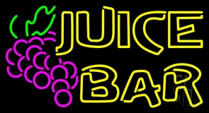 Double Stroke Juice Bar With Grapes LED Neon Sign