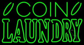 Green Coin Laundry LED Neon Sign