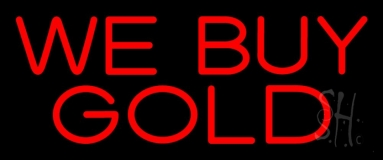 We Buy Gold Green Border 1 Neon Sign