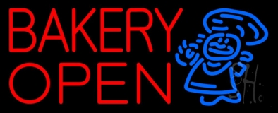 Bakery Open With Man LED Neon Sign