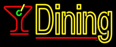 Dining With Martini Glass 2 LED Neon Sign