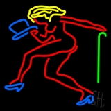 Strip Girl With Hat And Stick LED Neon Sign