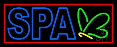 Blue Spa With Red Border LED Neon Sign