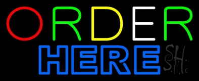 Double Stroke Multicolored Order Here LED Neon Sign