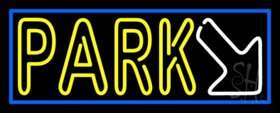 Double Stroke Park With Arrow And Blue Border LED Neon Sign
