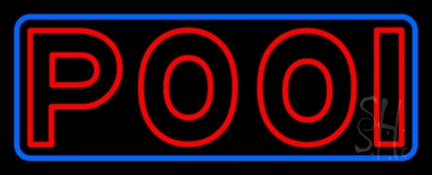 Double Stroke Red Pool With Blue Border LED Neon Sign