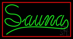 Green Sauna With Red Border LED Neon Sign
