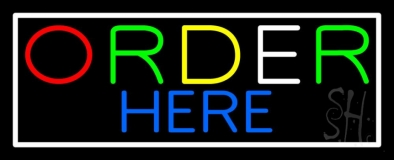 Multicolored Order Here With White Border LED Neon Sign