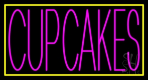 Pink Cupcakes With  Yellow Border LED Neon Sign