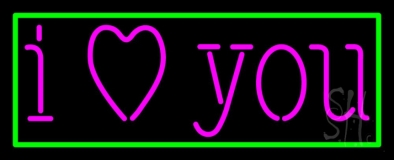 Pink I Love You With Green Border LED Neon Sign
