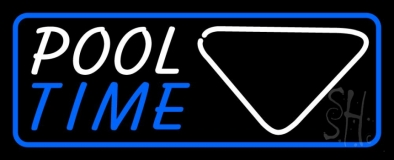 Pool Time With Billiard And Blue Border LED Neon Sign