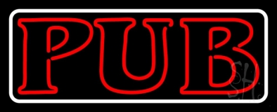 Pub Red With White Border LED Neon Sign