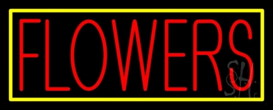 Red Flowers With Yellow Border Neon Sign