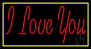 Red I Love You With Yellow Border LED Neon Sign