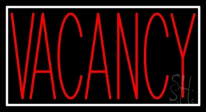 Red Vacancy With White Border LED Neon Sign