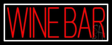 Red Wine Bar With White Border LED Neon Sign