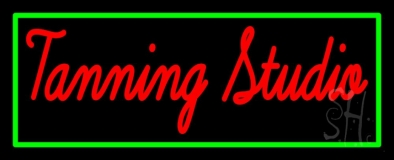 Tanning Studio With Green Border LED Neon Sign