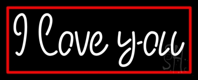 White I Love You With Red Border LED Neon Sign
