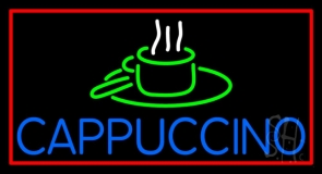 Blue Cappuccino With Red Border LED Neon Sign