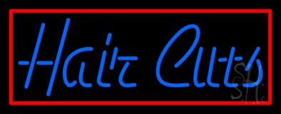 Blue Hair Cuts With Red Border LED Neon Sign