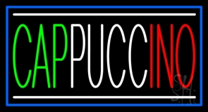 Cappuccino With Blue Border LED Neon Sign