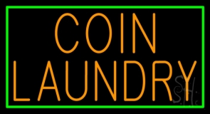 Coin Laundry With Green Border LED Neon Sign