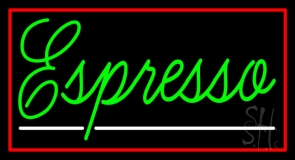 Cursive Green Espresso With Red Border LED Neon Sign