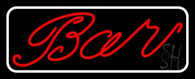 Cursive Red Bar With White Border LED Neon Sign