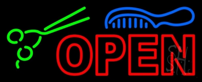 Double Stroke Open With Scissor And Comb LED Neon Sign