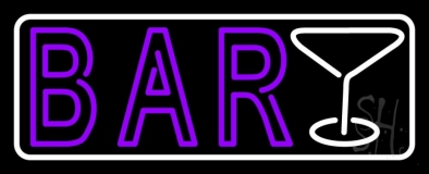 Double Stroke Purple Bar With Martini Glass And White Border LED Neon Sign