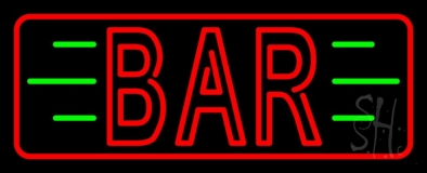 Double Stroke Red Bar With Green Lines And Red Border LED Neon Sign