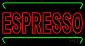Double Stroke Red Espresso With Green Lines LED Neon Sign
