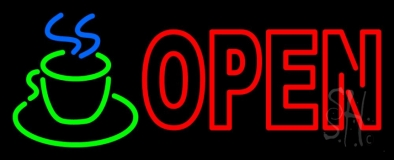 Double Stroke Red Open Coffee Cup LED Neon Sign
