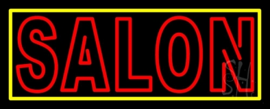 Double Stroke Salon with Yellow Border LED Neon Sign