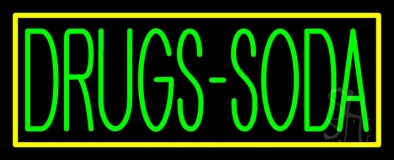 Drugs Soda With Yellow Border LED Neon Sign