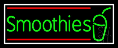 Green Smoothies With Glass And Border LED Neon Sign