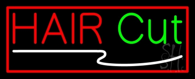 Hair Cut With Red Border LED Neon Sign