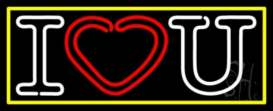 I Love You With Yellow Border LED Neon Sign